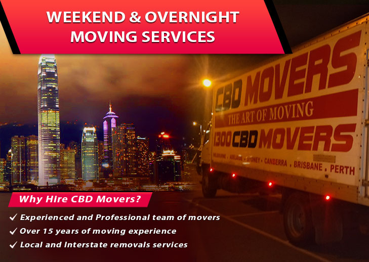 Weekend and Overnight Moving Services australia