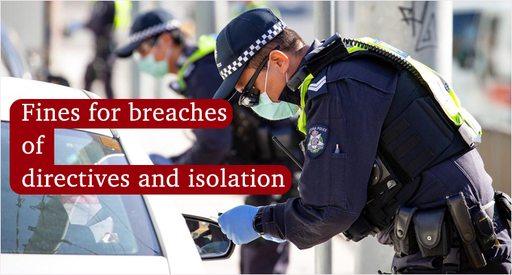 Fines for breaches of directives and isolation